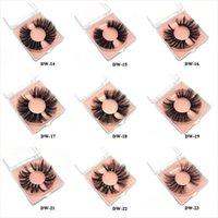 25styles Mink Eyelashes 25mm~27 Lashes Fluffy Messy 3D False Eyelashes Dramatic Long Natural Lashes Makeup Mink Lashes with square box DHL