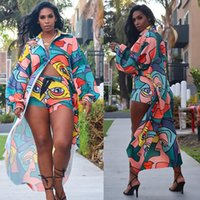 Women's Tracksuits Multicolor Print 2 Piece Set For Women Asymmetrical Long Sleeve Trench Coats Cardigan Bodycon Shorts Leggings Party Club