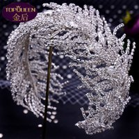 Bridal Wedding Tiara Wide Hair Band Soft Silk Bridal Headwear Crown Rhinestone with Wedding Jewelry Hair Accessories Diamond Bridal Crowns Headpieces