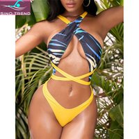 Two-piece Suits 2021 Women Africa Tribal Long Strap Wrap Around Thong Cut Out Swimwear Beachwear Bathing Suit One Piece Swimsuit