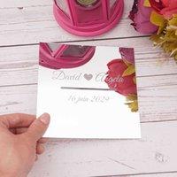 Boîte carrée miroir de mariée personnalisée avec couvercle de la lèvre long trou pour donation de fête de la soirée de soirée de mariée personnalisé Verlobung Tablet 210610
