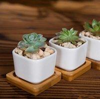 Seramik Etli Tencere Altıgen Kare Mini Beyaz Porselen Çiçeklik Tedarikçiler için Düğün Ev Dekorasyonu RH5105
