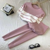Women's Two Piece Pants Spring Summer Striped Short Sleeve Knitted Korean 2 Set Women Patchwork O Neck Tops And Pant Suits Pink Casual Track