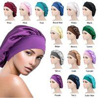 Solid Color Satin Sleeping Hat Night Sleep Cap Hair Care Bonnet Nightcap For Women Men Unisex Caps