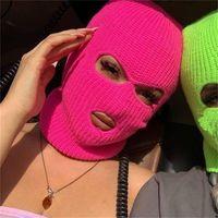 Beanies Full Face Cover Ski Mask Hat 3 Holes Balaclava Army Tactical CS Windproof Knit Bonnet Winter Warm Unisex Caps