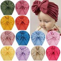 Kinder Baby Nylon Big Bow Turban Hüte Indien Beanie Bohemia Donuts Kappe Mädchen Headwear Bun Knoten Hüte für Neugeborene Kleinkind Kleinkind 0-36MONTHS