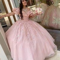 2021 Elegent Light Pink TquineAnera Платья Ball Pressing Платья Плюс Размер Off Плечо V Шея Кристалл Бисером Кружева Кружева Сладкие 15 16 лет Брейф Дума