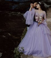 2022 Quinceanera Dresses Long Sleeves Bride Formal Party Gowns Lace Applique Buttons Back Sweet 16 Prom Robe De Marrige