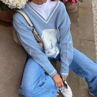 Classifica Y2K Maglioni Skulls Pullover V Scollo a V Maglieria Allentato Casual Casual Top Donne Streetwear Retro Blue 2021 Autunno Donna Donna