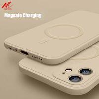 Жидкий силиконовый магнитный чехол для iPhone 12 Pro Max 11PRO X XS XR 7 8 плюс 12 мини-беспроводное зарядное устройство Magsafing Magnet задняя крышка