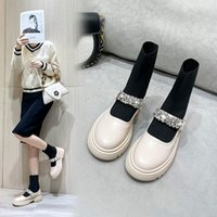 Spring and Autumn New Martin Boots, Round Toe Rubber Platform Short Women's Shoes, Diamond Buckle Sparkling Decoration Beautiful British Style