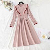 Banulin herbst winter frauen rüschen stricken pullover kleider koreanische stil elegante langarm süßes kleid vestidos de mujer lässig