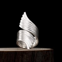 Silver 925 Jewelry Brushed Wings Silver Ring Exaggerated Super Wide Opening Rings For Women Party Engagement Anniversary Rings 210507
