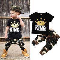الوليد الاطفال طفل الفتيان قمم تي شيرت كامو السراويل 2PCS ملابس مجموعة الملابس 0-5years 53 z2