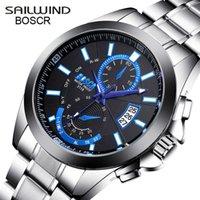 SAILWIND BOSCK Beiläufiges Geschäfts-Uhr-Mann-Edelstahl-Wasser-beständige Quarz Uhr Datum Uhr Kalender Uhren Montre Homme 210603