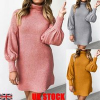 Casual Dresses 2021Womens Turtle Neck Long Sleeve Sweater Dress Ladies Loose Knitted Pullover Tops Autumn Clothes For Women Bikini Cover Up