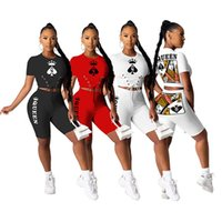 Women Tracksuits 2piece set summer fall clothes sexy&club crop top gym printing t-shirts shorts sweatsuit tee&top capris sportswear pullover leggings outfits 01377