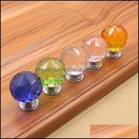 Hardware Building Supplies Home & Garden4 Color Diamond Crystal Door Glass Der Knobs Kitchen Cabinet Furniture Handle Knob Screw Handles And