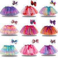 DHL 아기 소녀 Tutu 드레스 사탕 무지개 색상 아기 스커트 머리 띠가 세트 아이 휴일 댄스 드레스 투투스 21 색