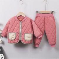 Confortable Kids Kids Coton Coton costumes 1-5t bébé garçons filles designeur épaississement de coton chaud vêtement 4 couleurs enfants ensemble 680 y2