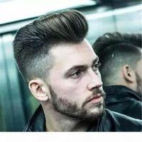 Toupee natural para hombres 6x8 pulgadas corta pelo negro toupee toupee encaje suizo PU Piel delgada de la piel Reemplazo de pelo encaje lleno Pelucas de pelo humano