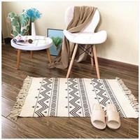 Carpets Boho Cotton And Linen Carpet For Living Room Muslim Bedroom Rugs Bedside Foot Pad Machine Washable Anti Slip Tatami Floor Mat