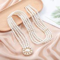 Simple Elegant Womens Waist Chain Pearl Rhinestone Matching Belt European and American Fashion Dress Waist Decorations Womens Waistband Belt