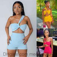 Women tracksuit Outfits 2021 summer new Designer Fashion women's solid color irregular sleeveless T-shirt high waist slim shorts Two-piece sets meet0808