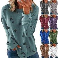 Women Designer Sweatshirts Pullover Hooded Autumn Winter Woman Long Sleeve Blouse Round Neck Star Print Sweatshirt Tops Womens TShirts S-5XL