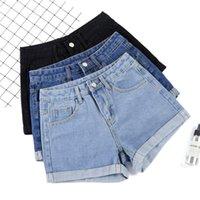 AILEGOGO NUEVO verano mujeres anchas pierna clásica alta cintura negro denim negro pantalones cortos casual hembra color sólido blanco azul suelto jeans pantalones cortos
