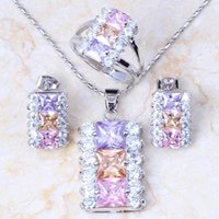 Earrings & Necklace Love Monologue Aesthetic Multicolour Crystal Cubic Zirconia Jewelry Sets Silver Color Engagement Set For Women KT026