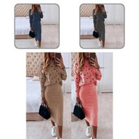Two Piece Dress 1 Set Blouse Skirt Casual Bodycon Mid-Calf Feather Print Skin-friendly Women Suit