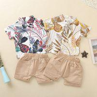 Bébé garçon costume costume vêtements vêtements de vêtements shorts de chemise 2 pcs laisse imprimer avec poches tenues d'été