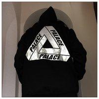 Palace Fashion Brand Мужская капюшона с капюшоном Обратный свет Треугольник Свободная повседневная осень и зимняя плюшевая капюшона