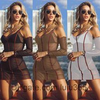 Women Casual Dresses 2021 summer new Designer Fashion women's U neck large holiday long sleeve Tight Sexy perspective screen dress Slim clothing lulu365