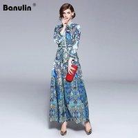 Vestidos casuais banulina 2021 moda runway designer verão vestido de outono mulheres colarinho animal cópia floral plissado vintage maxi