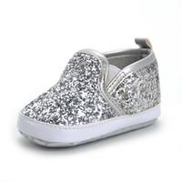 첫 번째 워커 실버 스프링 블링 블링 스 푸는 PU 가죽 아기 모카신 신발 Sofe Sole Girls Boys Sequins