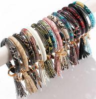 Wristlet Keychain Keyring Leather Charm Wrap Bracelets Snake Tassel Wristband Bangle Bracelets Hand Ring Car Key Chain Jewelry wjl3822