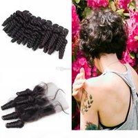Aunty Brazilian Funmi Virgem 9A cabelo 3bundos com peças de fechamento Romance Curl Virgin Human Weaves Extensões com fecho de renda 4x4