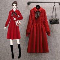Moda otoño invierno suéter vestido de gran tamaño mujeres impreso arco rechazo cuello punto rojo alto cintura vestidos vestidos casuales