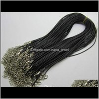 Constructions de fil Composants Drop Livraison 2021 1mm 1Dot5mm 2mm m 100pcs Noir Réglable Véritable Collier en cuir véritable pour bricolage bijoux