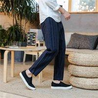 Wanansn повседневный полосатый карман Slim Thingging мода прямые мужские хлопковые уличные платья ретро брюки S-3XL