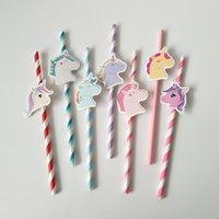 Blue 7 colori Unicorn carta bere cannucce rosa buon compleanno monouso Unicorn stoviglie decorazione del partito AAA683WSU4