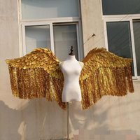Bling Shinny Large Size Bella Silve Gold Angel Feather Wings T-Stage Model Patwalk Mostra i Puntelli Party Performance Cosplay