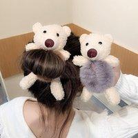 Accesorios para el cabello Moda Diadema Girl Bear Head Cuerda Corbata Banda de goma Niños Tiara Ponytail Elástico Hairbands Para Mujeres Chicas
