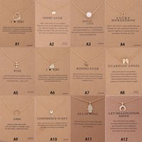 Elephant New Arrival Dog Necklace With Gift card Pearl Love Wings Cross Key Zodiac sign Compass lotus Pendant For wR87O
