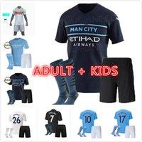 Kit pour enfants adulte 2021 2022 Bernardo Mahrez Soccer Jersey 20 21 Manchester G. Jesus Sterling de Bruyne Kun Chemises de football Aguero Foden
