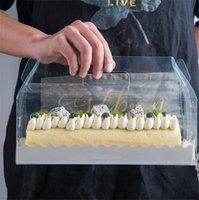 Прозрачная коробка для упаковывания прозрачного торта с ручкой Eco-Friendly прозрачный пластиковый сырной сыр коробка для выпечки швейцарский рулон1 1277 V2