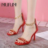 Платье Обувь квадратный носок Высокие каблуки Открытая металлическая цепь женских сандалии красный черный размер 35-42 молнии свадьба женщина сексуальное лето