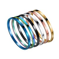 Smooth titanium steel couples open bracelet bangle 6 color stainless minimalist men and women DIY jewelry sublimation Cd Necklace gold